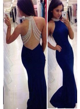 LadyPromDress 2021 Blue Mermaid/Trumpet Halter Sleeveless Natural Zipper Chiffon Prom Dresses
