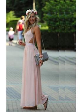 Column/Sheath Halter Sleeveless Natural Backless Floor-Length/Long Chiffon Prom Dresses