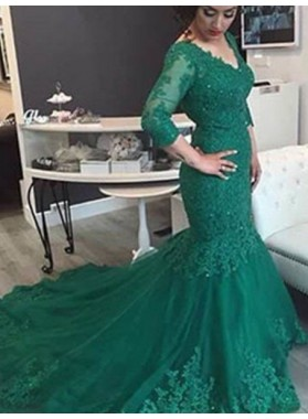 Green Newest Appliques Mermaid/Trumpet Tulle Prom Dresses