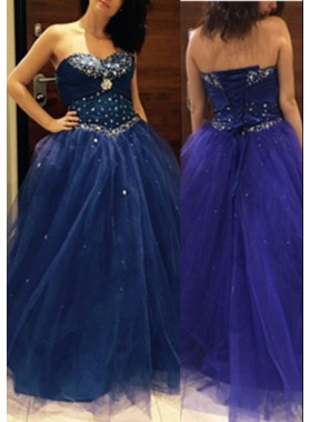 LadyPromDress 2019 Blue Sweetheart Sleeveless Ball Gown Tulle Prom Dresses