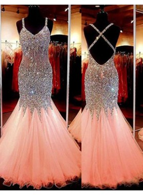 2018 Glamorous Pink Cheap Prom Dresses Mermaid/Trumpet Sequins Spaghetti Straps Tulle