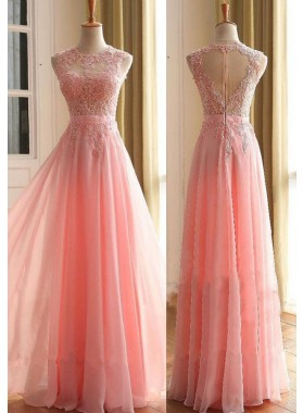 2019 Glamorous Pink Appliques Sleeveless A-Line/Princess Chiffon Prom Dresses