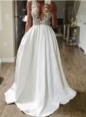 2019 Unique White A-Line/Princess V-Neck Sleeveless Natural Backless Sweep/Brush Train Stretch Satin Prom Dresses