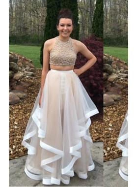 A-Line/Princess Halter Sleeveless Natural Zipper Floor-Length/Long Tulle Champagne Prom Dresses