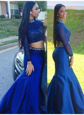 LadyPromDress 2019 Blue Mermaid/Trumpet High Neck Natural Zipper Floor-Length/Long Satin Prom Dresses
