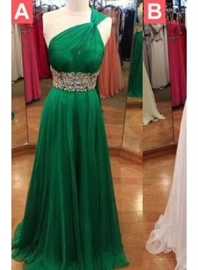 Floor-Length/Long One Shoulder Column/Sheath Chiffon Hunter Prom Dresses