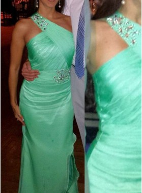 Beading One Shoulder Floor-Length/Long Column/Sheath Satin Prom Dresses