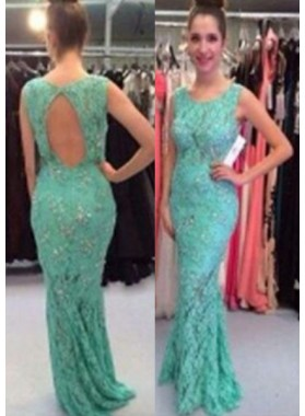 Mermaid/Trumpet Sleeveless Natural Backless Sweep/Brush Train Lace Prom Dresses