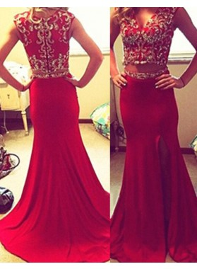 2019 Gorgeous Red Beading V-Neck Mermaid/Trumpet Satin Chiffon Prom Dresses