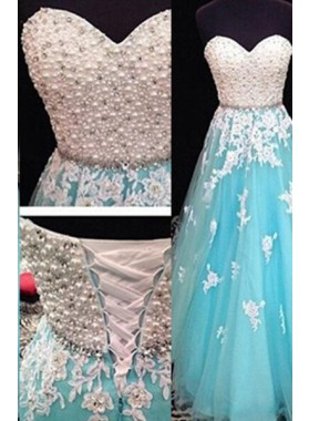 LadyPromDress 2019 Blue Floor-Length/Long A-Line/Princess Sweetheart Tulle Pearl Detailing Prom Dresses