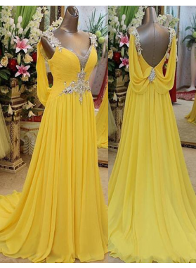 Floor-Length/Long Beading Straps Chiffon Prom Dresses