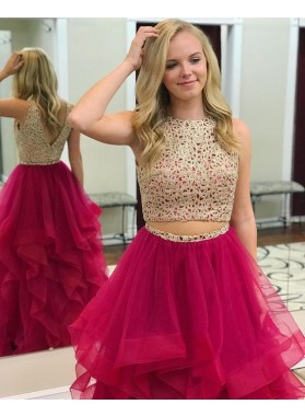 2019 Charming Princess/A-Line Tulle Two Pieces Beaded Fuchsia Prom Dresses