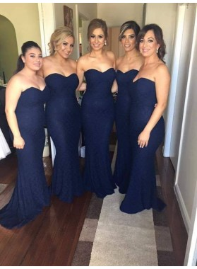 2021 Charming Mermaid Dark Navy Lace Sweetheart Long Bridesmaid Dresses / Gowns