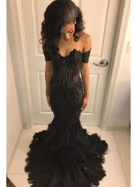 2021 Off the Shoulder Black Mermaid Prom Dresses