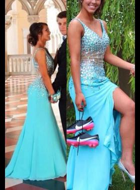 LadyPromDress 2019 Blue Beading Straps Trumpet Chiffon Prom Dresses