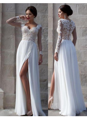 2019 Unique White Lace Sheer Sleeves High-Slit Chiffon Prom Dresses