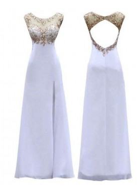 Crystal Sequins High-Slit Chiffon Prom Dresses