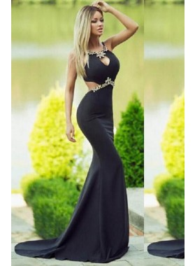2018 Junoesque Black Crystal Sweep Train Stretch Satin Prom Dresses