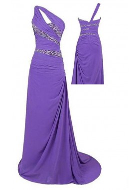 Sequins Ruching One Shoulder Chiffon Prom Dresses