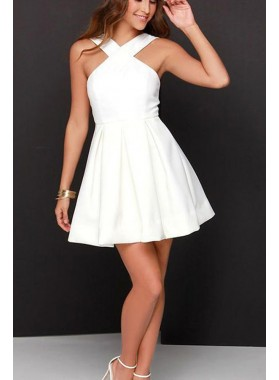 Short White Knee Length Satin Prom Drses