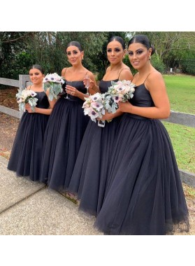 A Line Tulle Bridesmaid Dresses