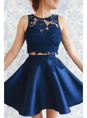 Navy Blue Satin Two Pieces Short Prom Dresses