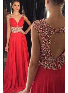 2019 Gorgeous Red Beding Straps A-Line/Princess Chiffon Prom Dresses