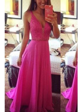 Beading Straps A-Line/Princess Chiffon Prom Dresses