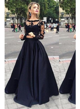 2019 Junoesque Black Illusion A-Line/Princess Satin Prom Dresses