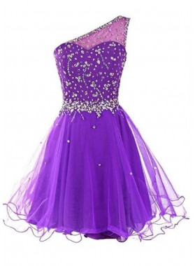 Beading Sequins One Shoulder Tulle Prom Dresses