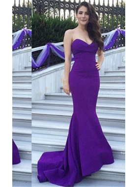 Purple Sweetheart Court Train Mermaid/Trumpet Satin Prom Dresses