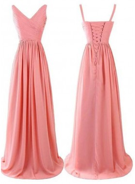 Ruching Straps Lace-up A-Line/Princess Chiffon Prom Dresses
