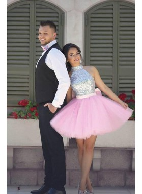 Short Pink Tulle Sequence Knee Length Prom Dresses