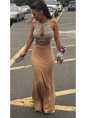 Column/Sheath Champagne Two Pieces Beaded Prom Dresses