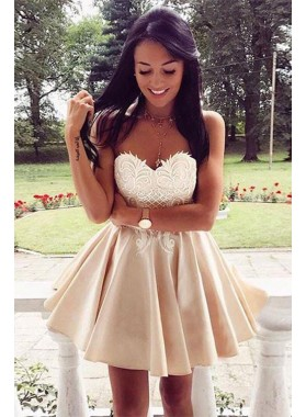 Princess/A-Line Champagne Sweetheart Chiffon Short Prom Dresses