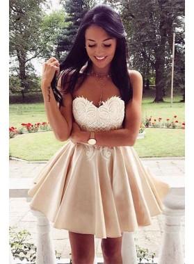 Princess/A-Line Champagne Sweetheart Chiffon Short Prom Dresses