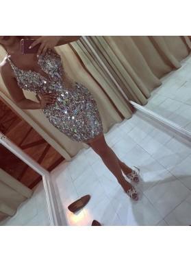 Sheath Deep V-neck Beading Rhinestone Short Prom Dresses