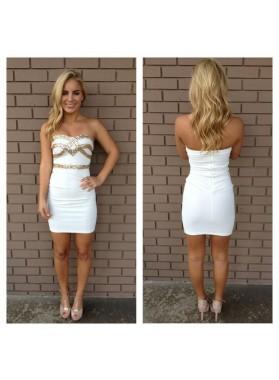 Sheath White Sweetheart Sleeveless Short Prom Dresses