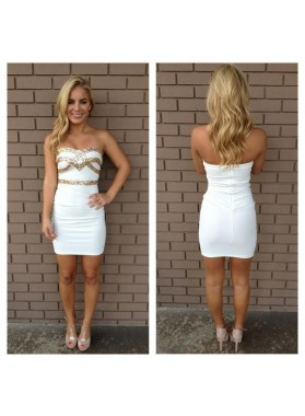Sheath White Sweetheart Sleeveless Short Homecoming Dress