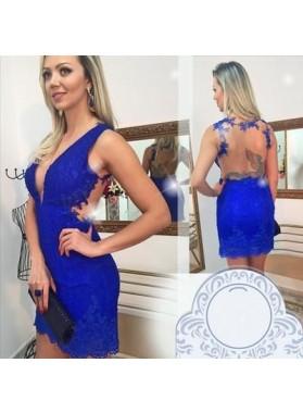 Sheath V-Neck Illusion Back Short Royal Blue  Lace Prom/Cocktail Dresses