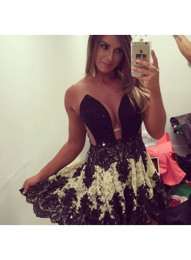 Black Lace A-line Illusion Jewel Beading Short Homecoming Dress