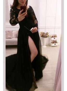 Black Princess/A-Line Side Slit Long Sleeves Prom Dresses
