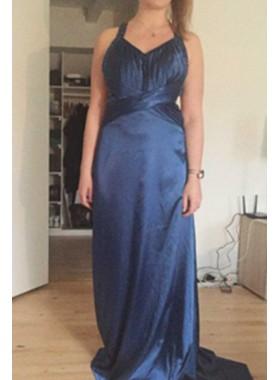 LadyPromDress 2019 Blue Halter Sweep/Brush Train Column/Sheath Satin Prom Dresses