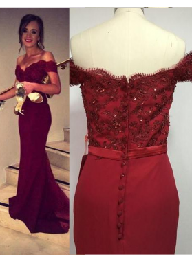 Burgundy Floor-Length/Long Sweetheart A-Line/Princess Satin Prom Dresses