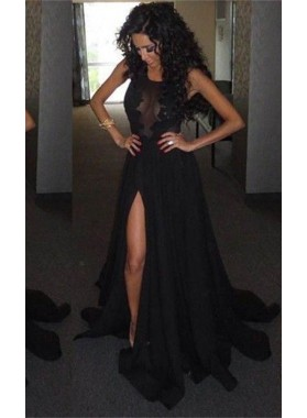 2019 Junoesque Black Illusion High-Slit A-Line/Princess Satin Prom Dresses