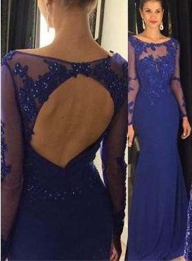 Royal Blue Illusion Beading Column/Sheath Chiffon Prom Dresses