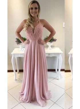 Beading Halter A-Line/Princess Chiffon Prom Dresses