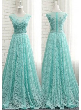 Beading Appliques A-Line/Princess Lace Prom Dresses LadyPromDress 2019 Blue