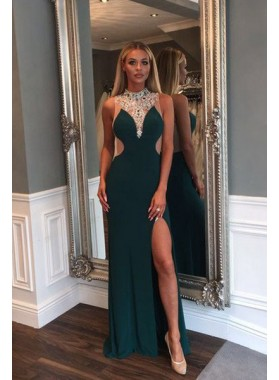 Gorgeous Crystal High-Neck Front-Split Sheer Back Prom Dresses