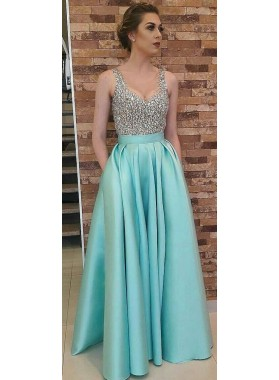 Princess/A-Line Satin Beaded Turquoise 2019 Cheap Prom Dresses